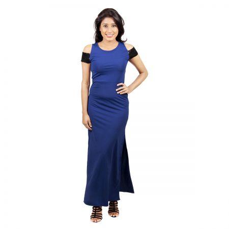 Laydeez Off Shoulder Sequined Dress (Blue)