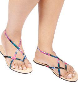 Laydeez Elastic Crossover Sandal (Pink)