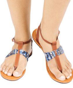 Laydeez T Strap Sandal (Blue&White)