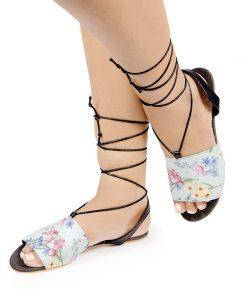 Laydeez Floral Gladiator Sandal - Gray