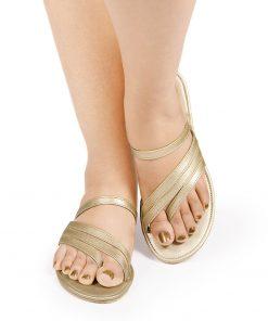 Laydeez Santa's Strappy Sandals (Dull Gold)