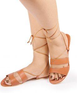 Laydeez - Double Strap Tie Ups - Tan Color