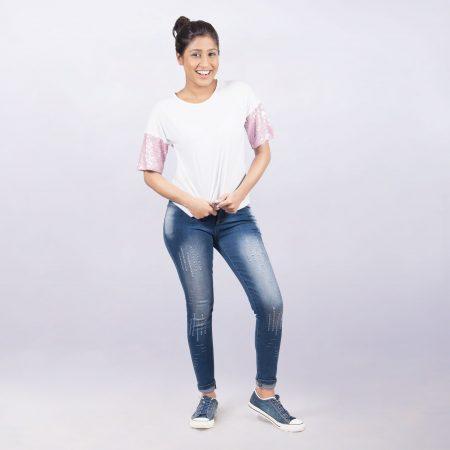 Laydeez Stay Chic Sequin Tee (White)