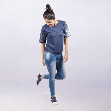 Laydeez Stay Chic Sequin Tee (Navy Blue)