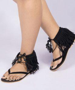 Laydeez Gypsy Tassel Sandals in Black