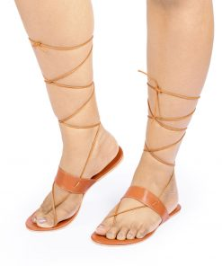 Laydeez - One Strap Tie-up Sandal in Tan Color