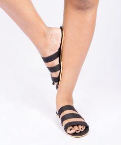 Laydeez Black Triple Strap Slides