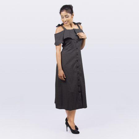 Polka dot off shoulders in Black