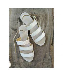 Laydeez Triple Straps Sandals in White