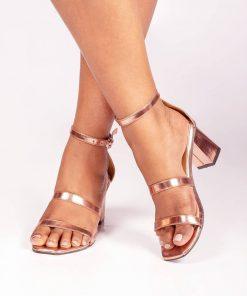 Laydeez Triple Strap Block Heels in Rose Gold