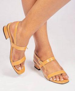 Laydeez Two Strap Low Heels in Mustard