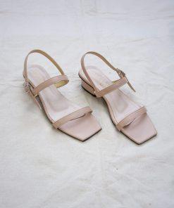 Laydeez - Square Toe Two Strap Low Blocks - Beige Color