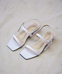 Laydeez - Square Toe Two Strap Low Blocks - White Color