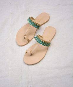 Laydeez - Indian Toe Ring Sandals - Green Color