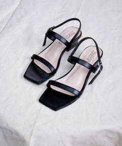 Laydeez - Square Toe Two Strap Low Blocks - Black Color