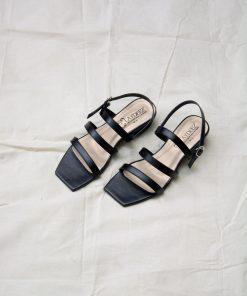 Laydeez - Square Toe Triple Strap Low Block Heels