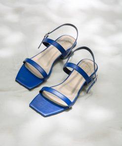 Laydeez - Square Toe Two Strap Low Blocks - Royal Blue Color