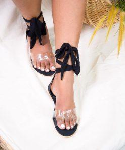 Laydeez - Transparent Crossover Tie Up Sandals