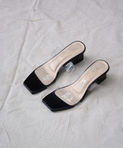 Laydeez Transparent Two Strap Block Heels