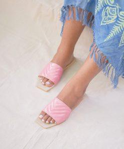 Square Toe Embossed Slides