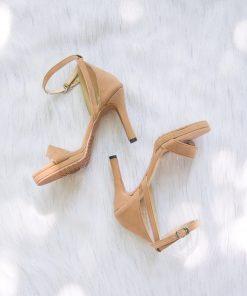 Laydeez Open Toe Back Detail Platform Heels