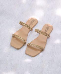 Laydeez Chained Dual Strap Sandals - Beige Color