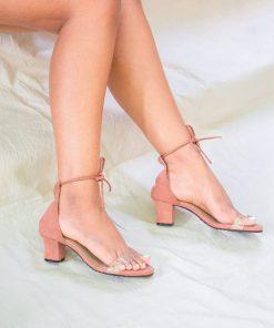 Laydeez - Transparent tie up heels in Old Rose