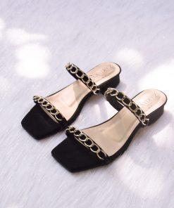 Laydeez Chained Dual Strap Low Block Heels