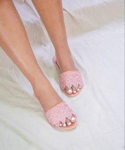 Laydeez Lace Embellished Sliders