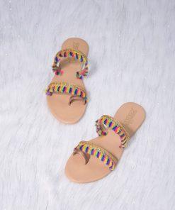 Laydeez Multi Lace Dual Strap Sandals
