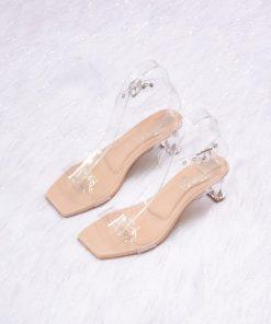Laydeez Open Toe Glass Heels