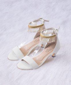 Laydeez Tassel Lady Kitten Heels in White