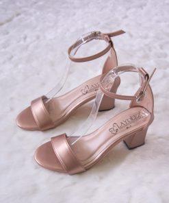 Laydeez Basic Chunk Heels in Rose Gold